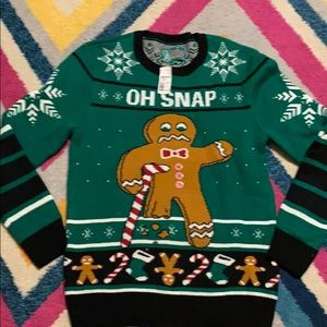 Men's M Ugly Christmas Sweater Oh Snap Bite Me